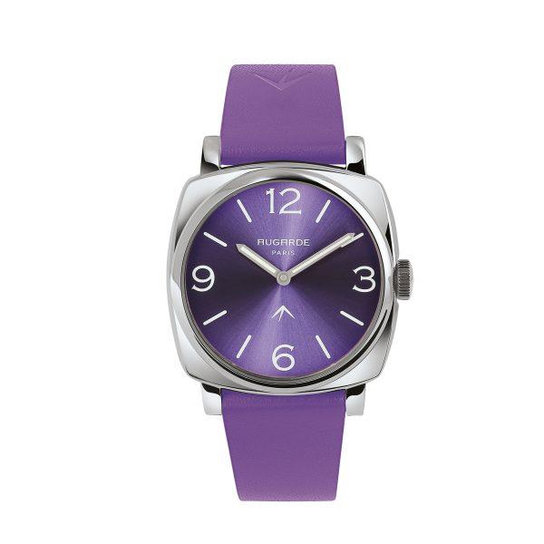 Montre carrée violette Augarde Belleville